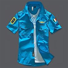 US Air Force Men's Pure Cotton Casual T-Shirt(Color:Blue)