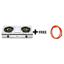 MGS2402 - Gas Stove, Table Top, Stainless steel, 2 Burner Plus Free 1.5M Gas Pipe - SILVER.