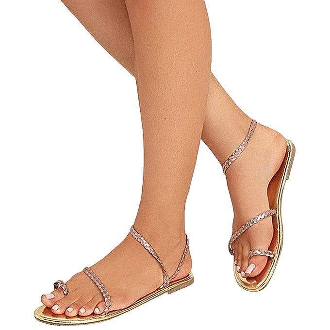 3fd98583830 Fashion Blicool Shop Women Sandals Women Summer Strappy Gladiator Low Flat  Heel Flip Flops Beach Sandals Shoes-Gold