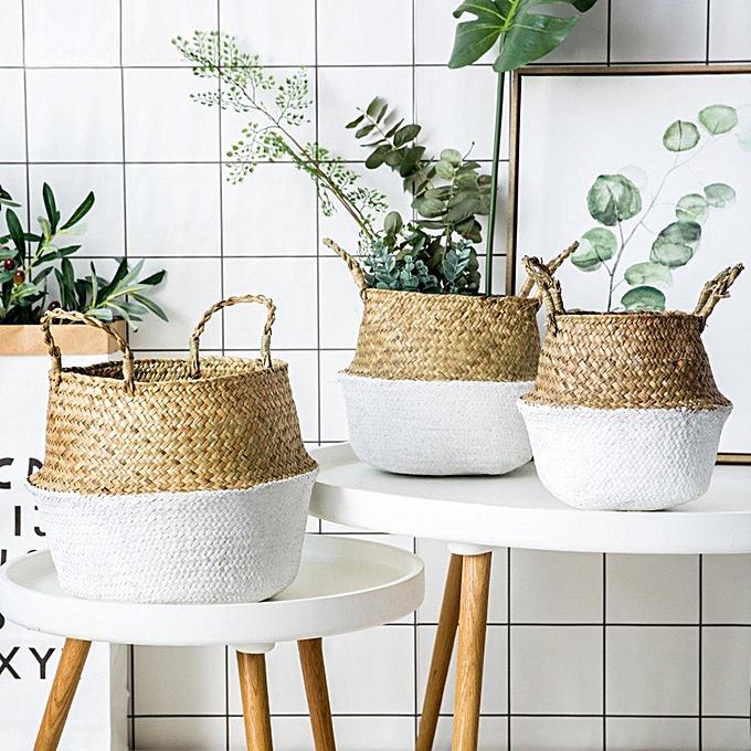 ... Pliable Fleur Panier Bambou Plante Jardin Vêtement Lavage Stockage  Rangement Pot ae2aae72b6f