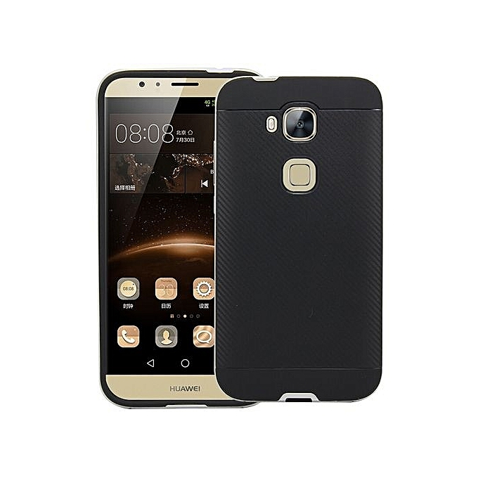 official photos ed20e 60e85 PC Frame + Silicone Back Case For Huawei G8 / G7 Plus /D199 (Color:Black)