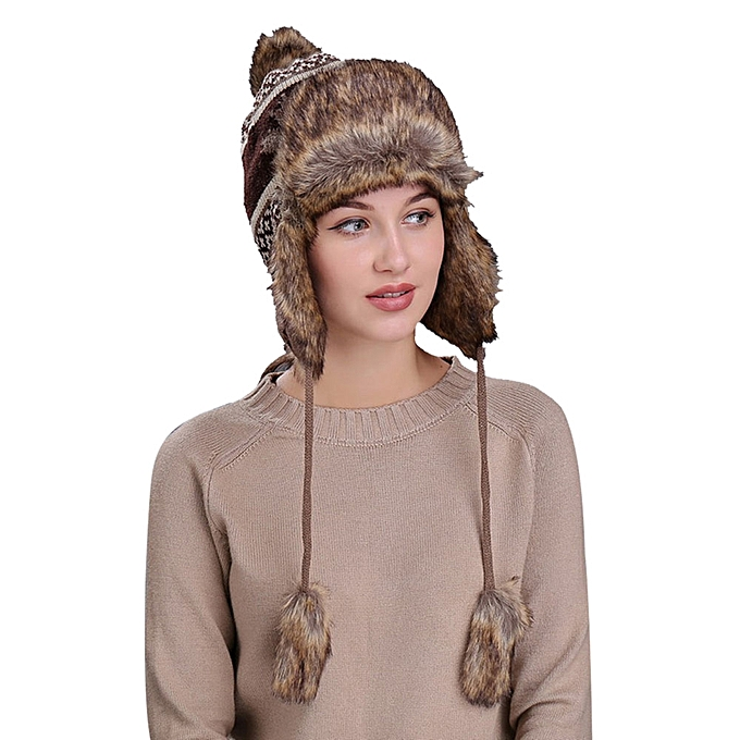 1312d5b41ec0ee Tectores Fashion Trend Warm Women Winter Hat With Ear Flaps Snow Ski Thick  Knit Wool Beanie