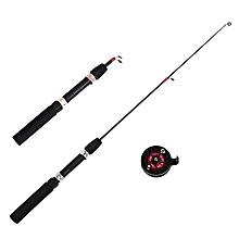 LEO 62/65CM Fiberglass Telescopic Fishing Rod Reel Combo Mini Pocket Fishing Rod Set