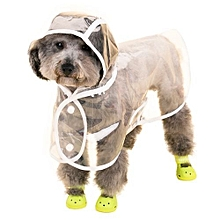 Unisex VC161103 Waterproof Pet Raincoat Hooded Jacket Transparent Clothing For Small Large Dog - White