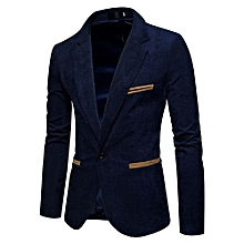 Men Stylish Corduroy Suit Jacket Casual Coat Birthday Valentine's Day Gift  Color:Navy Blue Size:2XL