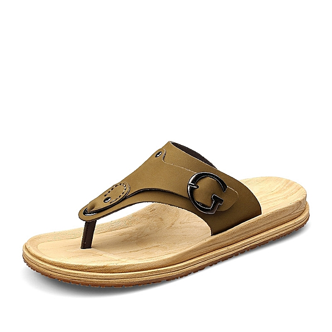 Men Nubuck Leather Flip Flops Beach Shoes For Male Sandals Army Green