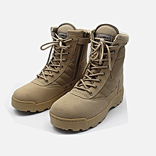 ea8e97109372 Tactical Army Mens Lace Up Shoes Sports Desert Ankle Boots Waterproof-Khaki
