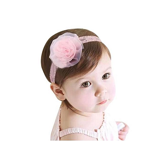 78430040ded Braveayong Kid Baby Girls Princess Lace Gauze Rose Flower Headbands Elastic  Hairband -Pink