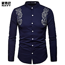 Men Shirt Long Sleeve Fashion Shirt Court Style Embroidered Henry Collars Shirt Casual Slim Fit Male Casual Shirt - blue