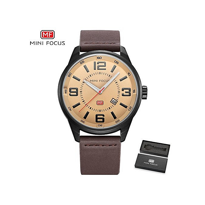 c43461e0a Concise Sports Quartz Watch Men Blue Dial Date Display Leather Strap Mens  Watches Top Brand Luxury