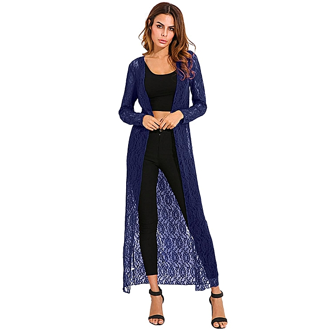 d6eec2815525 ZANZEA Autumn Women Outerwear Lace Crochet Kimono Cardigan Blusas Long  Sleeve Casual Loose Long Tops Blouses