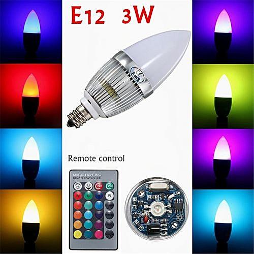 E12 3W LED Candle Lamp Candelabra Candlestick RGB Spot Light Bulb Remote  Control