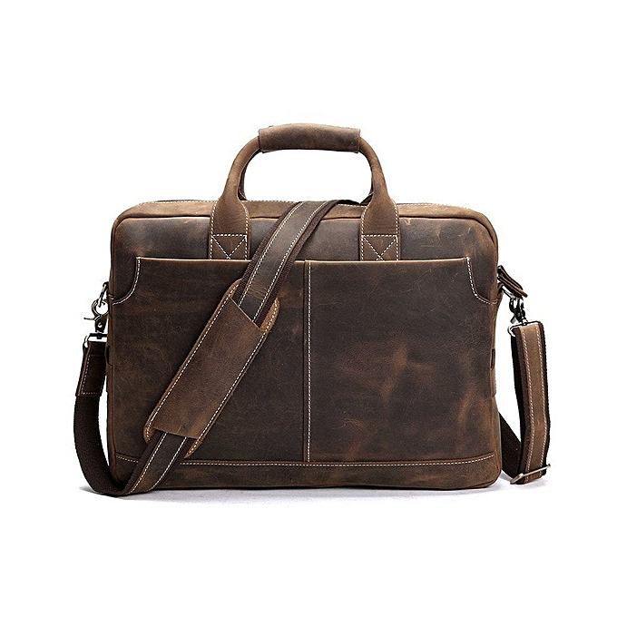 5e512ce487a7d BLUESEBE Men Handmade Dark Brown Vintage Leather Briefcase Messenger Bag  8012