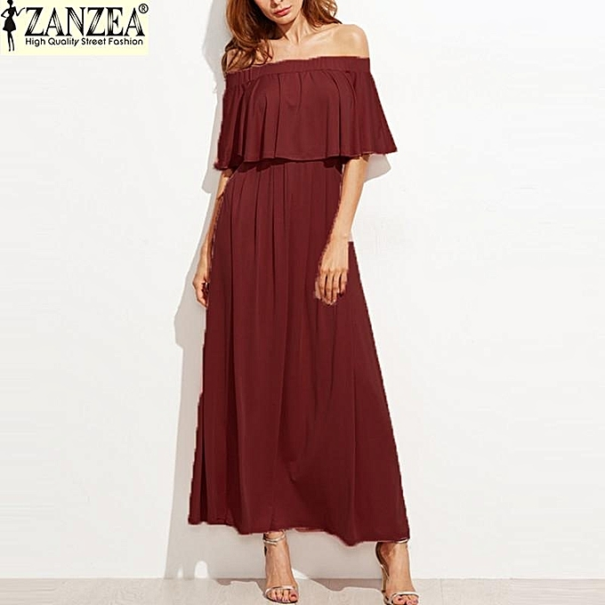 3359e25136c7 ZANZEA Womens Off Shoulder Casual Short Sleeve Maxi Long Dresses (Wine Red)