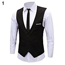 Men's Classic Formal Business Slim Fit Chain Dress Vest Suit Tuxedo Waistcoat-Black