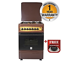 MST55PI31DB/HC - Standing Cooker, 3 Gas Burners, 1 RAPID Hot Plate, Electric Oven - Dark Brown + Free Tray