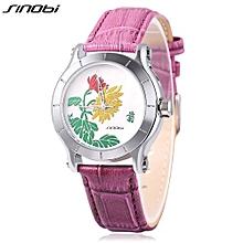 Female Quartz Watch Leather Strap Mineral Glass Mirror Plant Pattern Dial Wristwatch-PURPLE