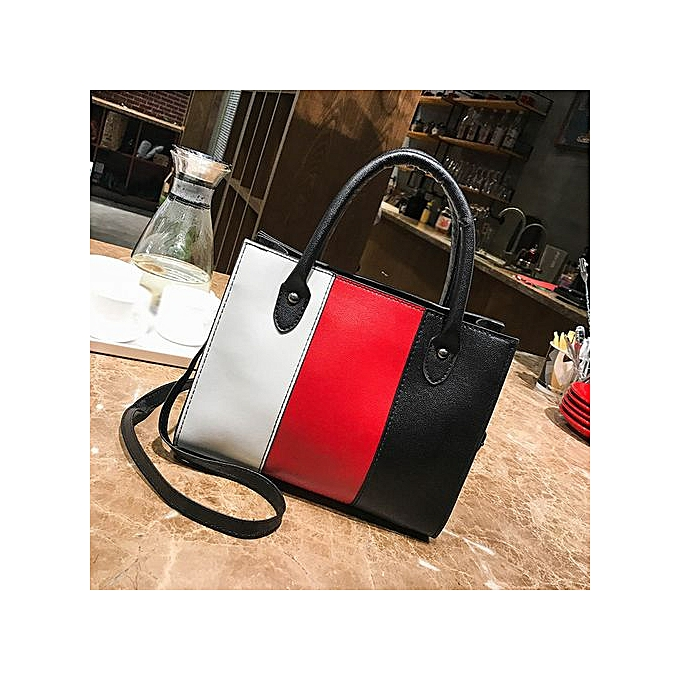 Zetenis Woman Tote Casual Bags Crossbody Bag Hit Color Leather Handbag  Shoulder Bag -Red 724994d2facff