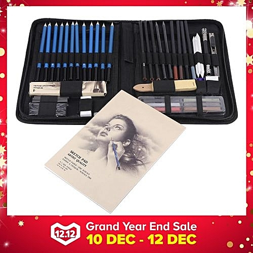 Generic 48PCS Professional Sketching Drawing Pencils Kit Carry Bag Art Painting Tool Set Student Black