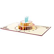 Handcrafted 3D Birthday Card 2 Layers Cake Pop Up Hollow Carved red