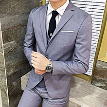 Men's Elegant Three-piece Suit Formal Suits Blazer Vest And Trousers - Grey
