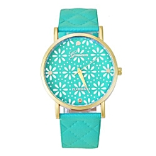 Olivaren Fashion Women Casual Geneva Roman Leather Band Analog Quartz Wrist Watch GNGreen