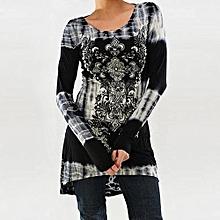 Grace Womens Rock Style African Print Shirt Long Sleeve Top High Low Hem Tunics Blouse-gray