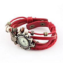 Ladies PU Leather Strap Butterfly Bracelet Watch Quartz Movement Wrist Watch-Red