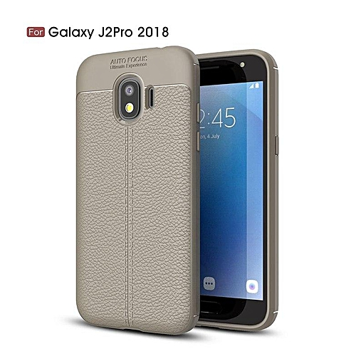 online retailer 5f7c8 59c95 For Samsung Galaxy J2 Pro 2018 / J2Pro 2018 Case Luxury Soft Silicon Litchi  Striae Leather Case Coque Shock Proof Back Cover (Grey)