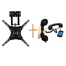 "14 - 55"" Full Motion Swivel Wall Mount TV Bracket with free phone handset receiver of any cor"