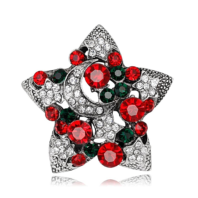 Christmas Brooches And Pins.New Year Christmas Gifts Star Brooches Fashion Design Colorful Rhinestone Christmas Brooch Pins For Women