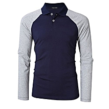 Yong Horse Men's Two Tone Color Blocked Modern Fit Long Sleeve Polo Shirt Color:Blue With Gray Sleeves Size:2XL