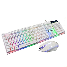 Keyboard LED Rainbow Color Backlight Adjustable Gaming Game USB Wired Keyboard Mouse Set-White