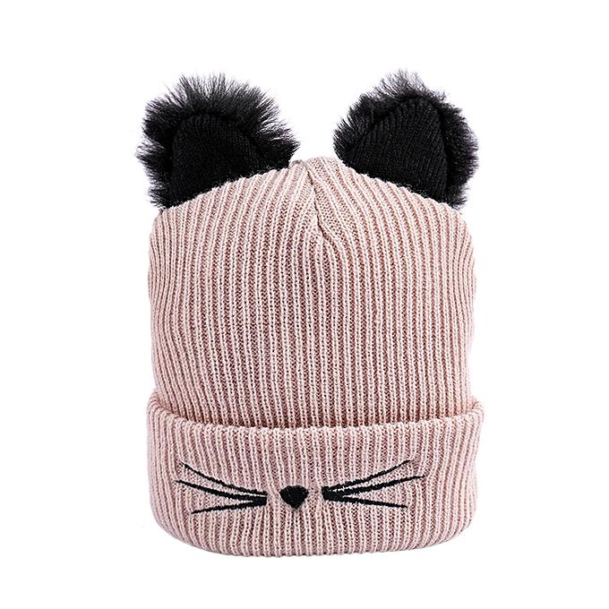 004eba49 Wenrenmok Store Women Winter Fashion Keep Warm Cat Ear Winter Hats Knitted  Wool Hemming Hat-