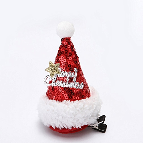 Allwin Christmas Santa Claus Caps Hats Hair Clips Children Baby Lovely Hair  Clip Gift multicolor sequin letter   Best Price  ad1dd73367e