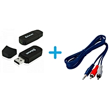 USB Bluetooth Receiver + Aux Audio 3.5mm Stereo Male to 2 RCA