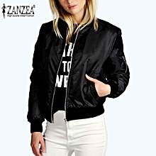 ZANZEA Spring Women Celeb Bomber Jacket Long Sleeve Coat Casual Stand Collar Slim Sport Short Outerwear Burgundy Lightweight Jackets (Black)