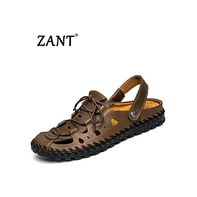 9ba40945712055 Summer Sandals Men Fashion Designers Beach Shoes Brand Leather Slippers For  Men Lelaki Sandal Fesyen-