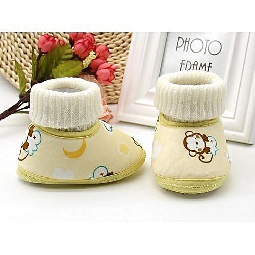 e265d3b227b9d bluerdream-Toddler Newborn Baby Monkey Print Boots Soft Sole Snow Prewalker  Warm Shoes - Yellow