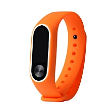 CO Replacement Wrist Strap With Two Color TPU Wristband for XIAOMI MI Band 2-white & orange