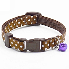 Adjustable Polka Dot Print Nylon Dog Collar Necklace With Bell Tan