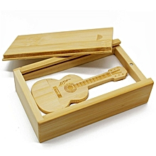 Mini Bamboo Wood Flash Drive Guitar Shaped USB2.0 Pen Drive with Drawer Box wood color