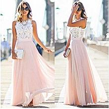 Plus size Lace Chiffon Dress One-piece Women's Splicing Dress Solid Longuette-pink