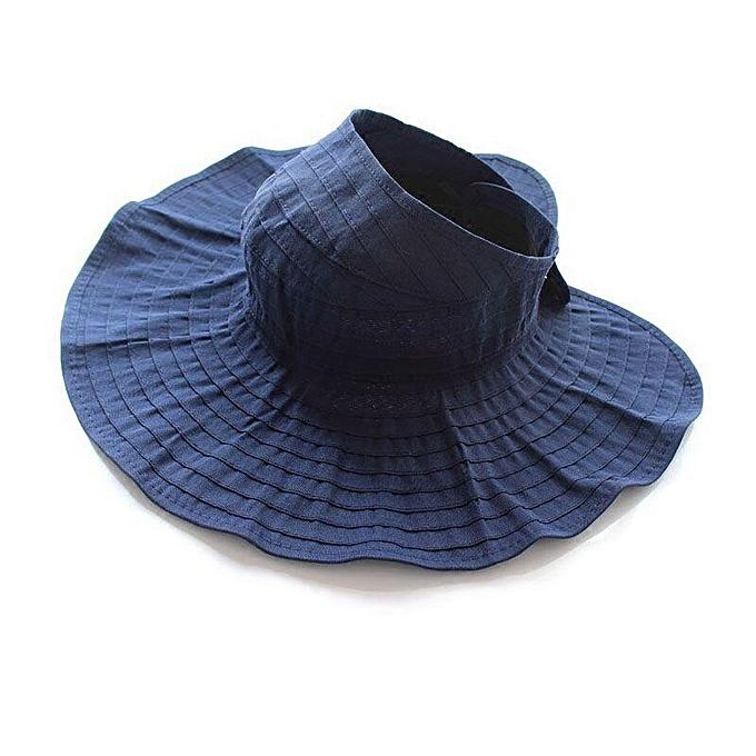 7d678d5ce Summer Woman Sun Hat Female Solid Color Cap Korea Wild Fashion Ride Folding  Sun HatS Empty Top Hats Beach Wide Brim Visor Hat(navy blue)