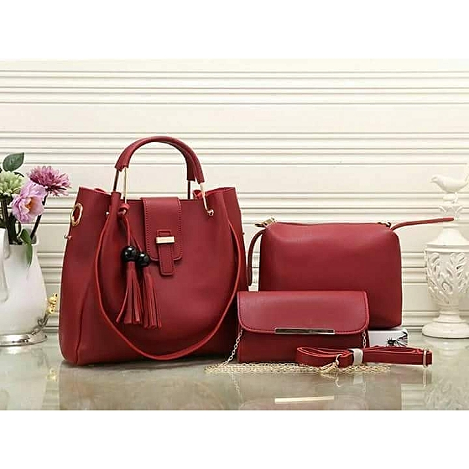 c7a5bdddc209 Generic 3 in 1 stylish maroon handbag   Best Price