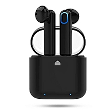 Wireless Earbuds, Bluetooth Headphones Mini In-Ear Headsets Sports Earphone with Noise Cancelling Built-in Mic and Charging Case - Black