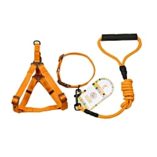 Pet Dog Collar + Harness + Leash Three Sets, S, Harness Chest Size: 34-50cm, Collar Neck Size: 24-35cm, Pet Weight: 8kg Below(orange)