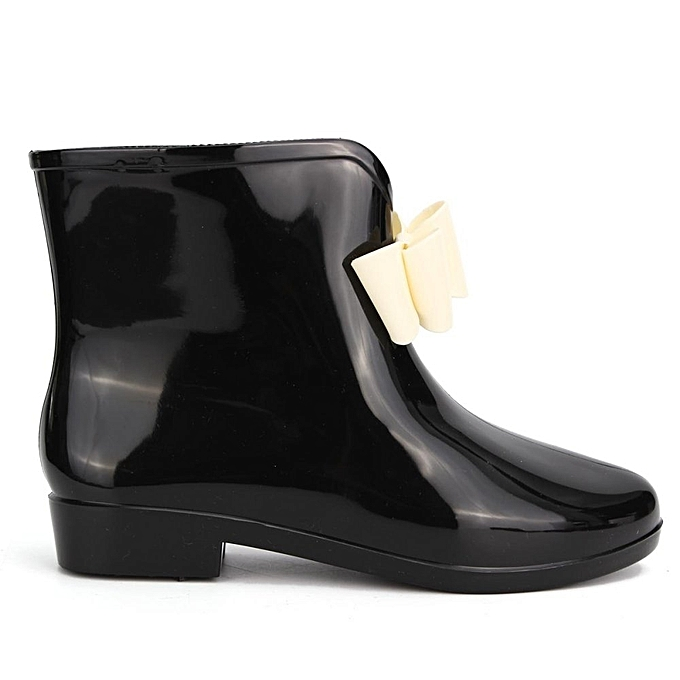 ee140dc94735c ... Women Heel Rubber Rain Shoes Ankle Boots Waterproof Wellies Wellington  Boots BLACK