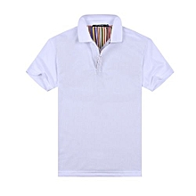 New Summer Fashion Casual Men's Short Sleeves Polo Shirts-White