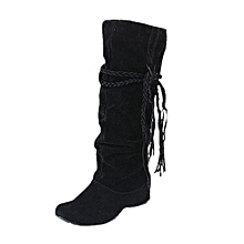 bluerdream-Women Heighten Platforms Thigh High Tessals Boots Motorcycle Shoes BK/37-Black37